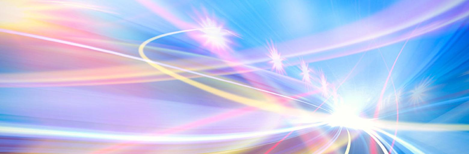 Computer generated light trails to represent fibre optics