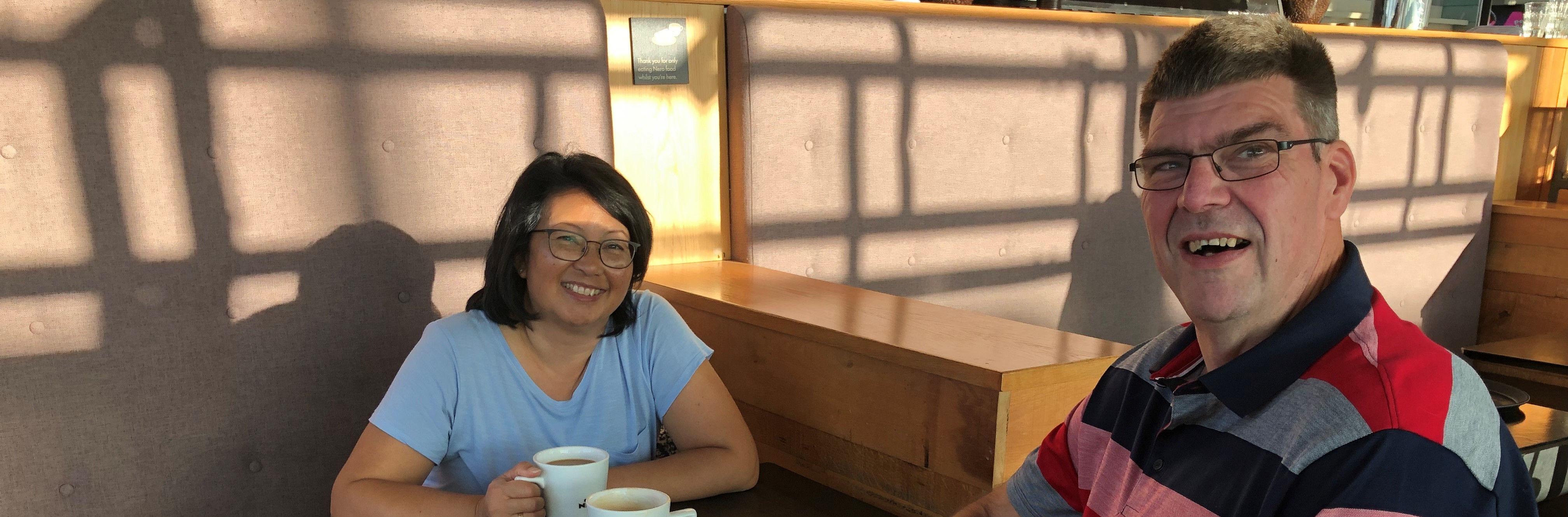 John and Kim at the airport