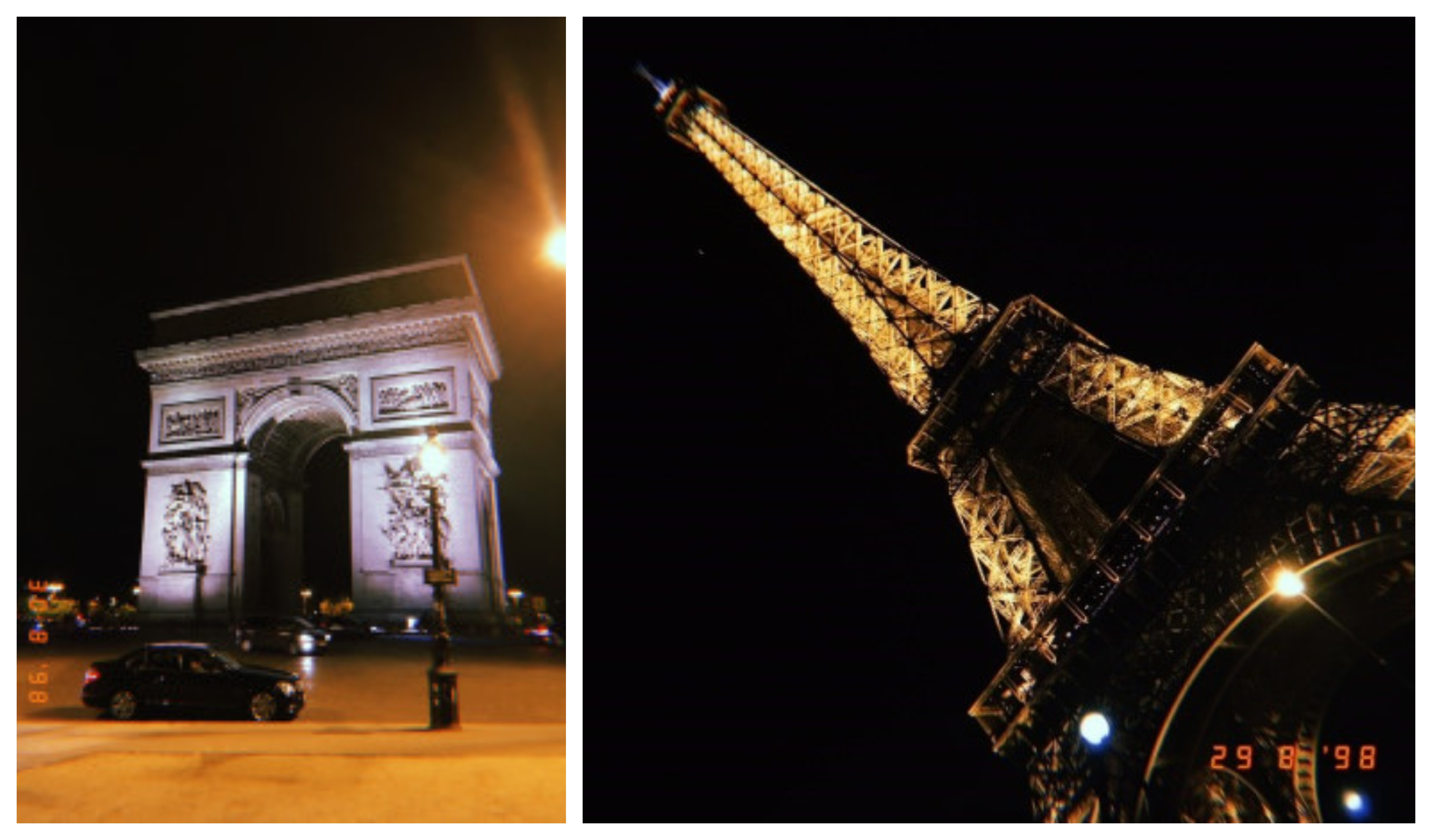 Photo collage of the Arc de Triomphe and the Eiffel Tower