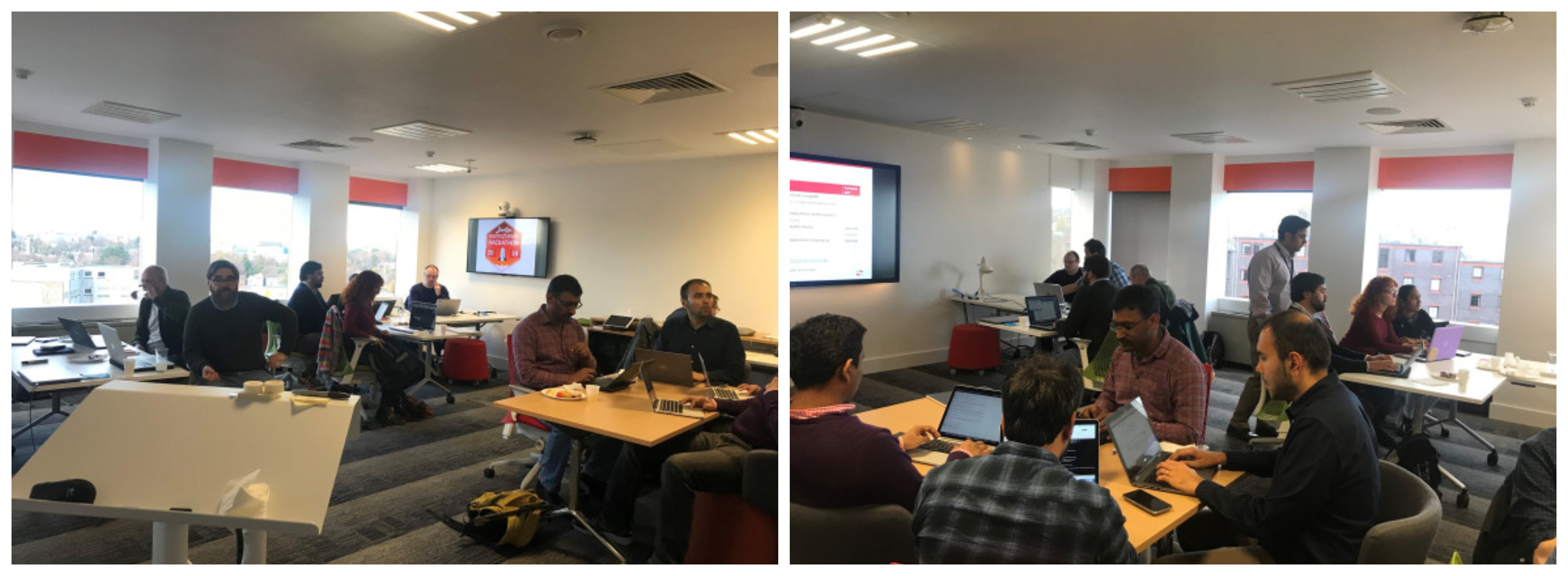 Photo collage of The Scottish Government Department of Agriculture and the Rural Economy (ARE) DevOps hackathon in the Sopra Steria Edinburgh DigiLab