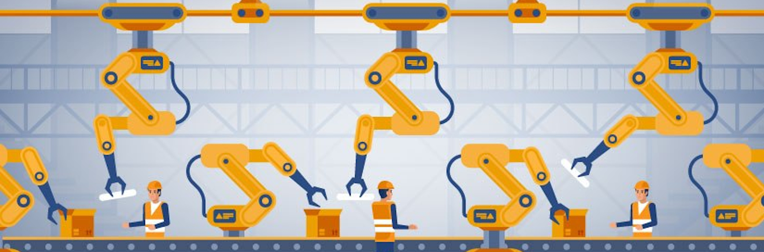 Graphic of a manufacturing assembly line that utilises robot and human workers