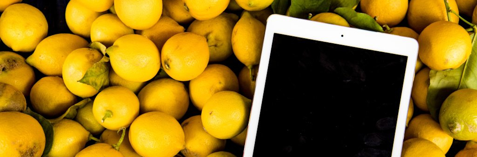 Photo of an Ipad on a bed of lemons