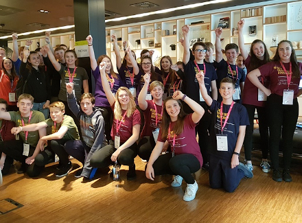 Photo of the 31 teenagers who took part in the #DigiInventorsBootcamp at CitizenM in Glasgow