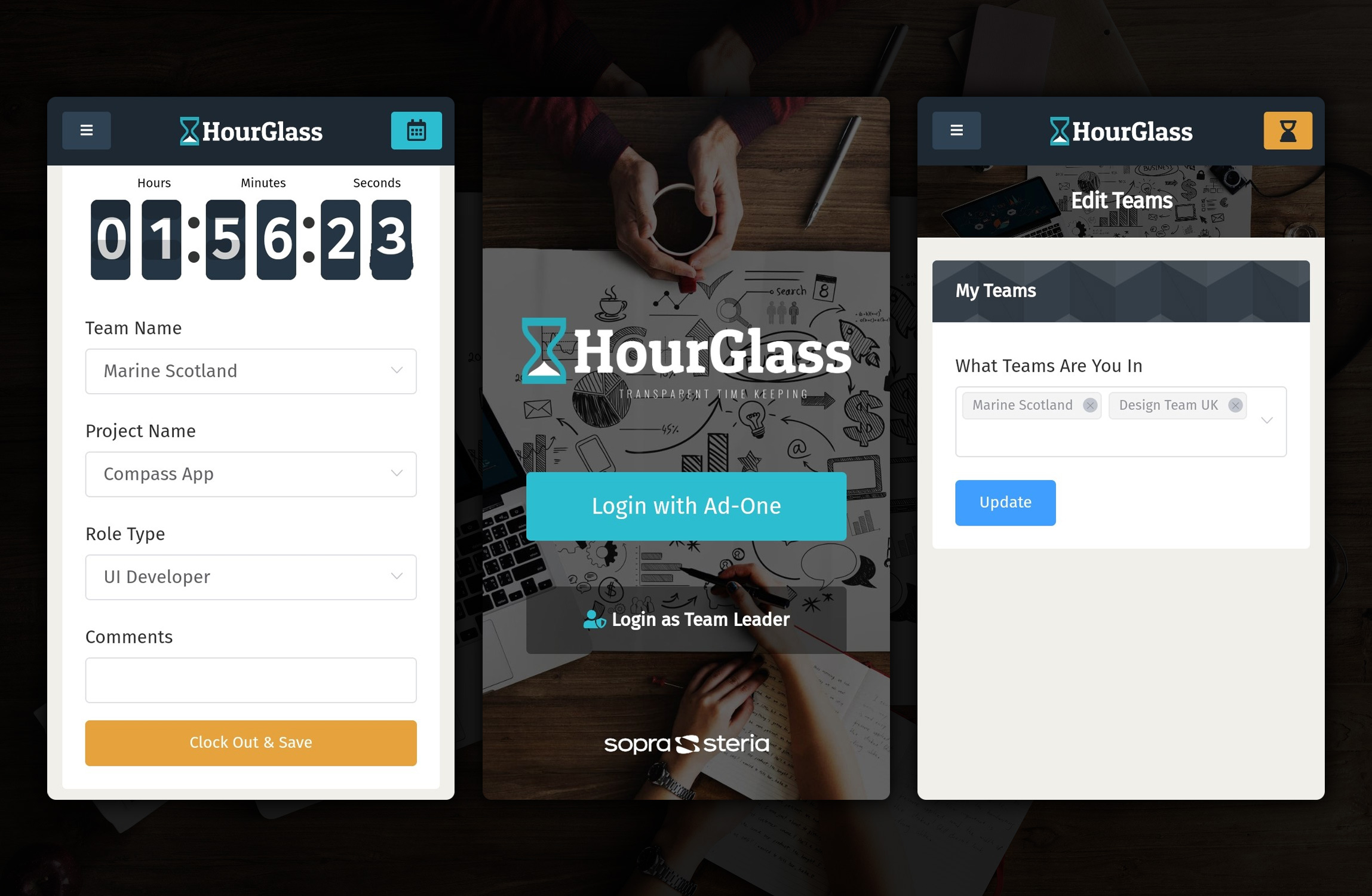 Photo of the HourGlass login, project and teams screens