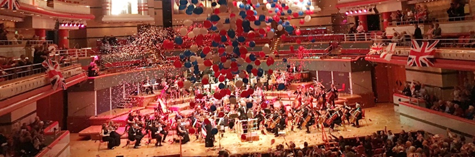 Photo of the British Police Symphony Orchestra (BPSO) performing at Symphony Hall, Birmingham for the annual Proms Night Spectacular concert.