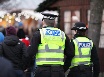 Police officers at a Christmas market
