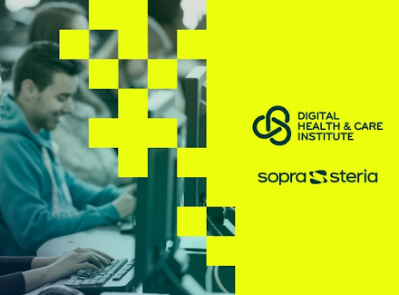 Graphic for the Digital Health & Care Institute, and Sopra Steria