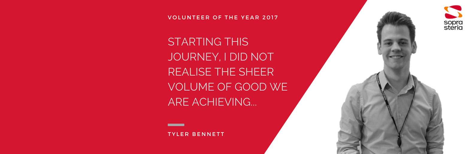 """Quote from Tyler Bennet that reads """"Starting this journey, I did not realise the sheer volume of good we are achieving..."""""""
