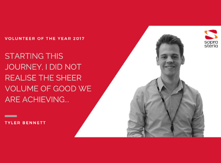 "Quote from Tyler Bennet that reads ""Starting this journey, I did not realise the sheer volume of good we are achieving..."""