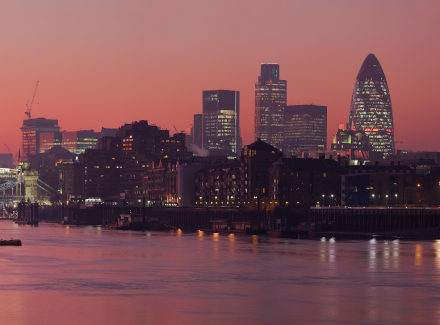 Photo of the London skyline at night