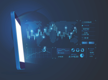 Concept image of a mobile banking platform.