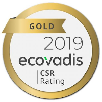EcoVadis 2019 Gold CSR Rating award logo